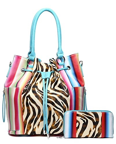 5b129e9dd923 Image Unavailable. Image not available for. Color  Serape Zebra Handbag Set  -Teal