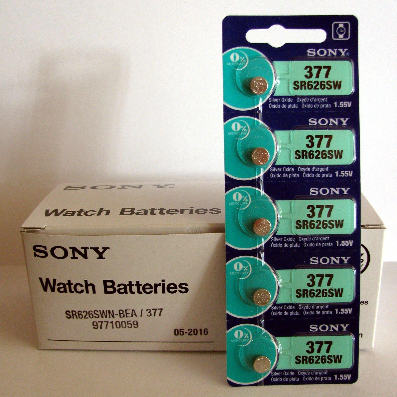 Sony Battery 377 (SR626SW) Silver Oxide 1.55V (100 Batteries Per Box) by Sony