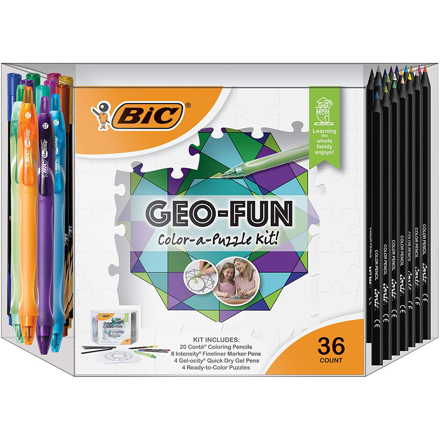 BIC geo-fun colore-a-puzzle kit di attività, colorei assortiti, 36-count