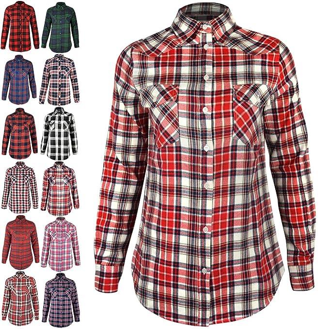 Mujeres Camisa De Cuadros Leñador Manga Larga Franela Con botones Blusa top: Amazon.es: Ropa y accesorios