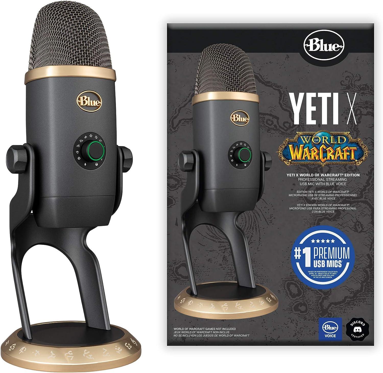Blue Yeti X World Of Warcraft Wow Edition Professionelles Gaming Streaming Usb Mikrofon Mit Blue Voice Effekten Fortgeschrittene Sprachmodulation Mit Wow Voreinstellungen Mac Und Pc Grau Gold Musikinstrumente