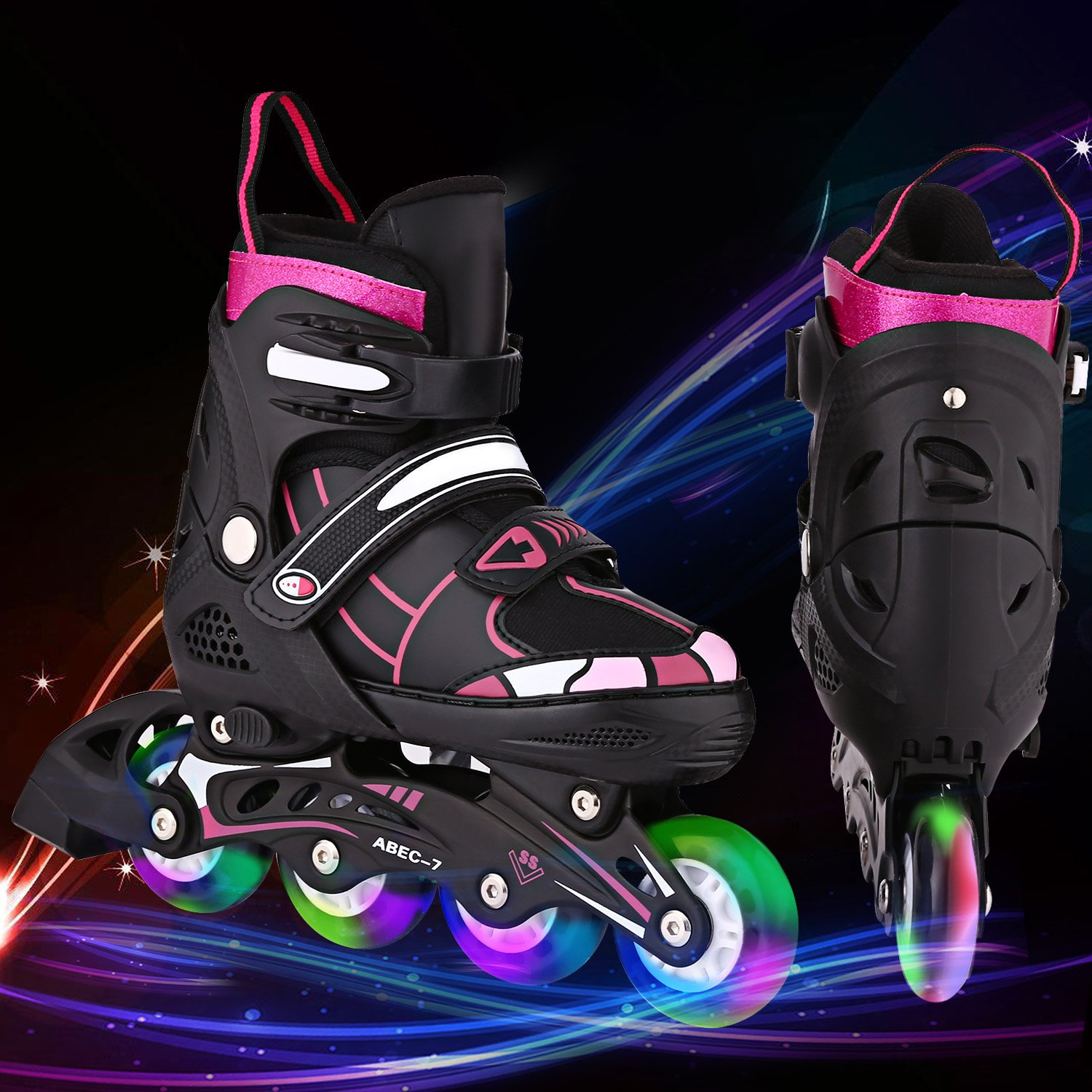 Aceshin Inline Skates Kids, Rollerblades Adjustable Illuminating Wheels, Safe and Durable for Boys and Girls (R3-Black&Red, M-2-5)