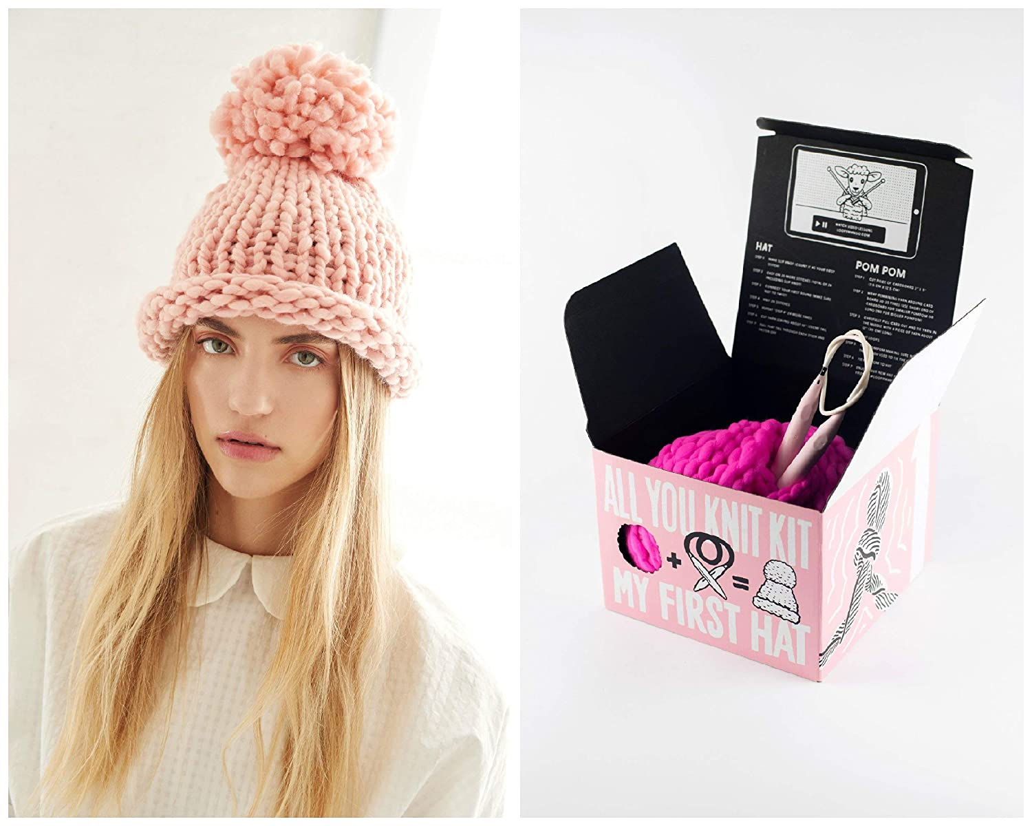 51ba7a2c503 Amazon.com  Loopy Mango DIY All You Knit Kit - My First Hat (Black)