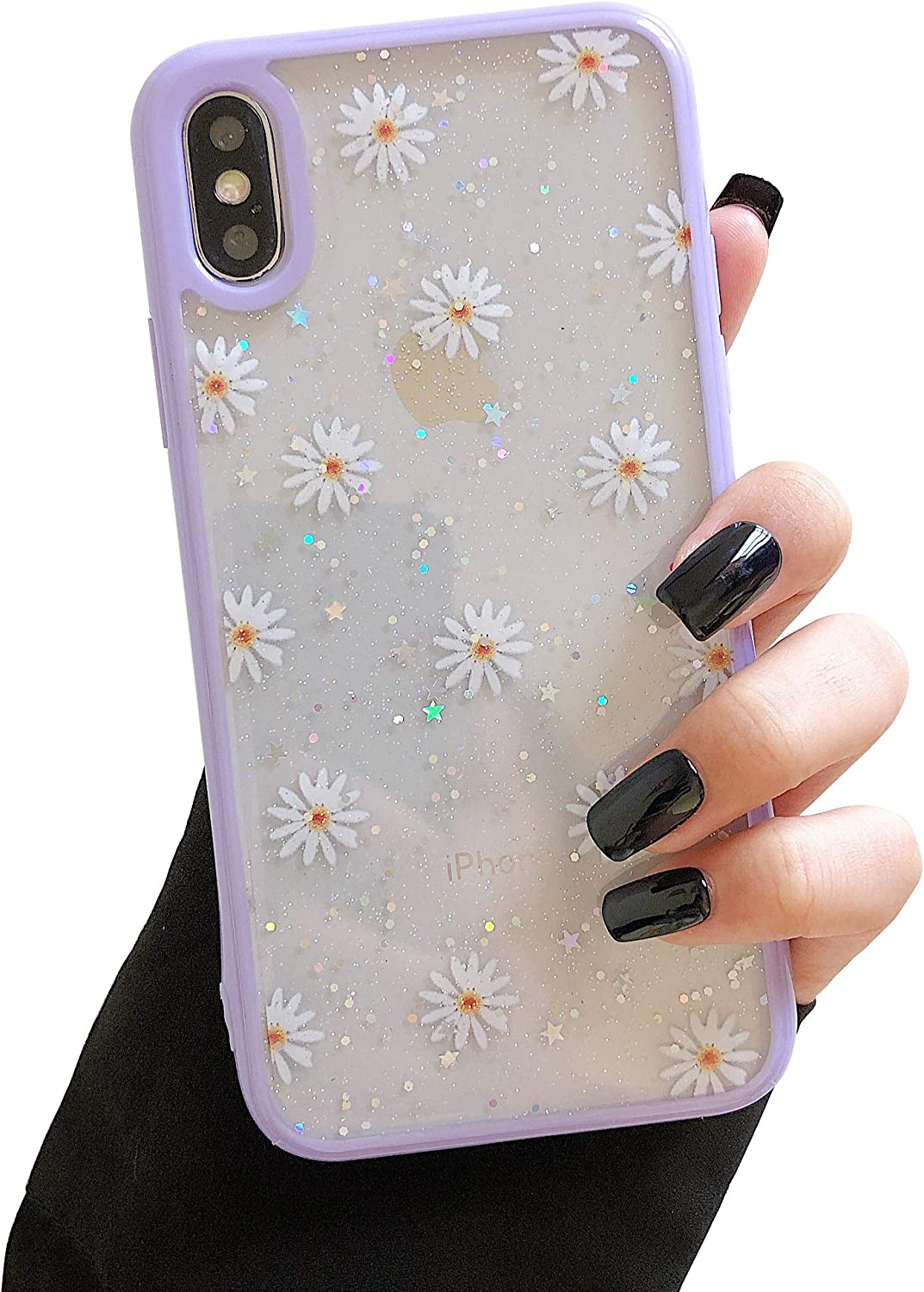 DEFBSC iPhone X iPhone Xs Cute Clear Case, Daisy Sparkly Bling Glitter Design Case Girls Woman Soft Slim TPU Bumper Shockproof Anti-Scratch Protective Case for iPhone X/XS 5.8 Inch-Purple