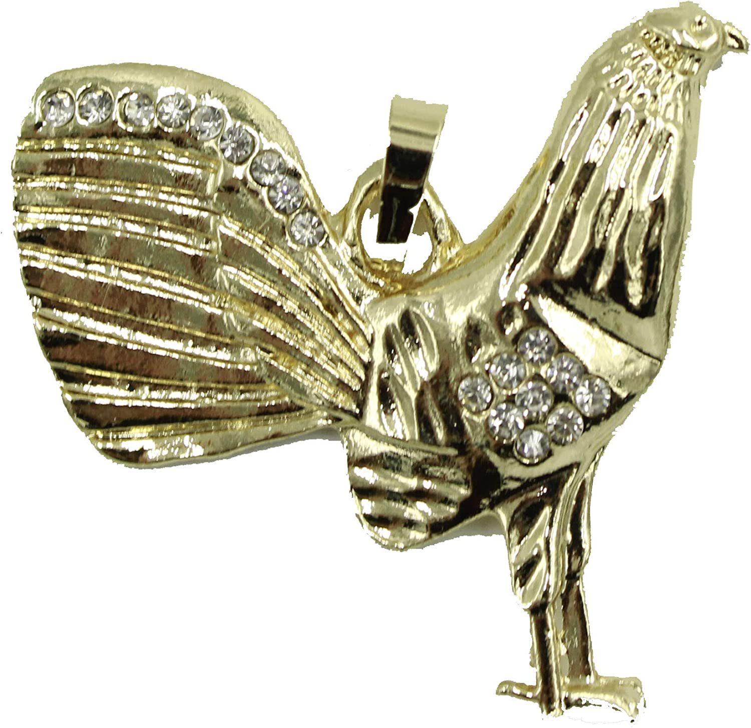 Rooster Medal 18k Gold Plated Diamantados of Florida Rooster Round Pendant 18k Gold Plated