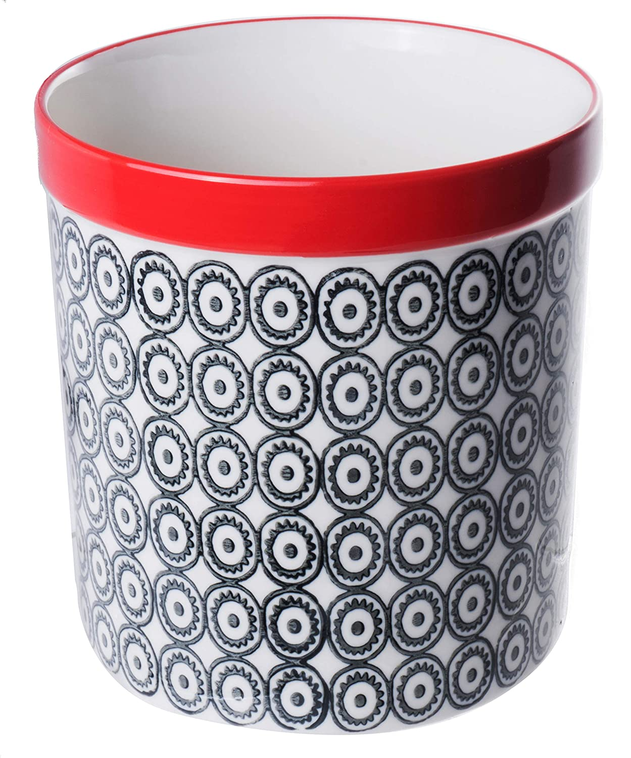 Large Durable Stoneware Utensil Holder Kitchen Tools Organizer with Hand-Stamped Black Pattern and Red Rim