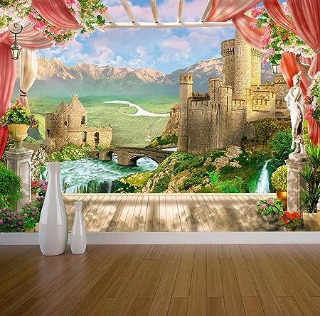 Fantasy Castle Wall Mural Photo Wallpaper Roman Greek Style Garden