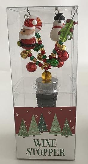 Papá Noel, muñeco de nieve, árbol de Navidad, verde círculo Candy tapón para