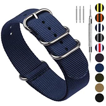55f9ea351 10 Colors for NATO Watch Band 18mm 20mm 22mm 24mm, Fullmosa Nylon Watch  Straps for