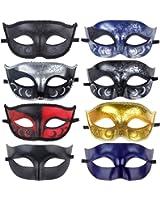8pcs Set Halloween Masquerade Venetian Masks Mardi Gras Costume Acc