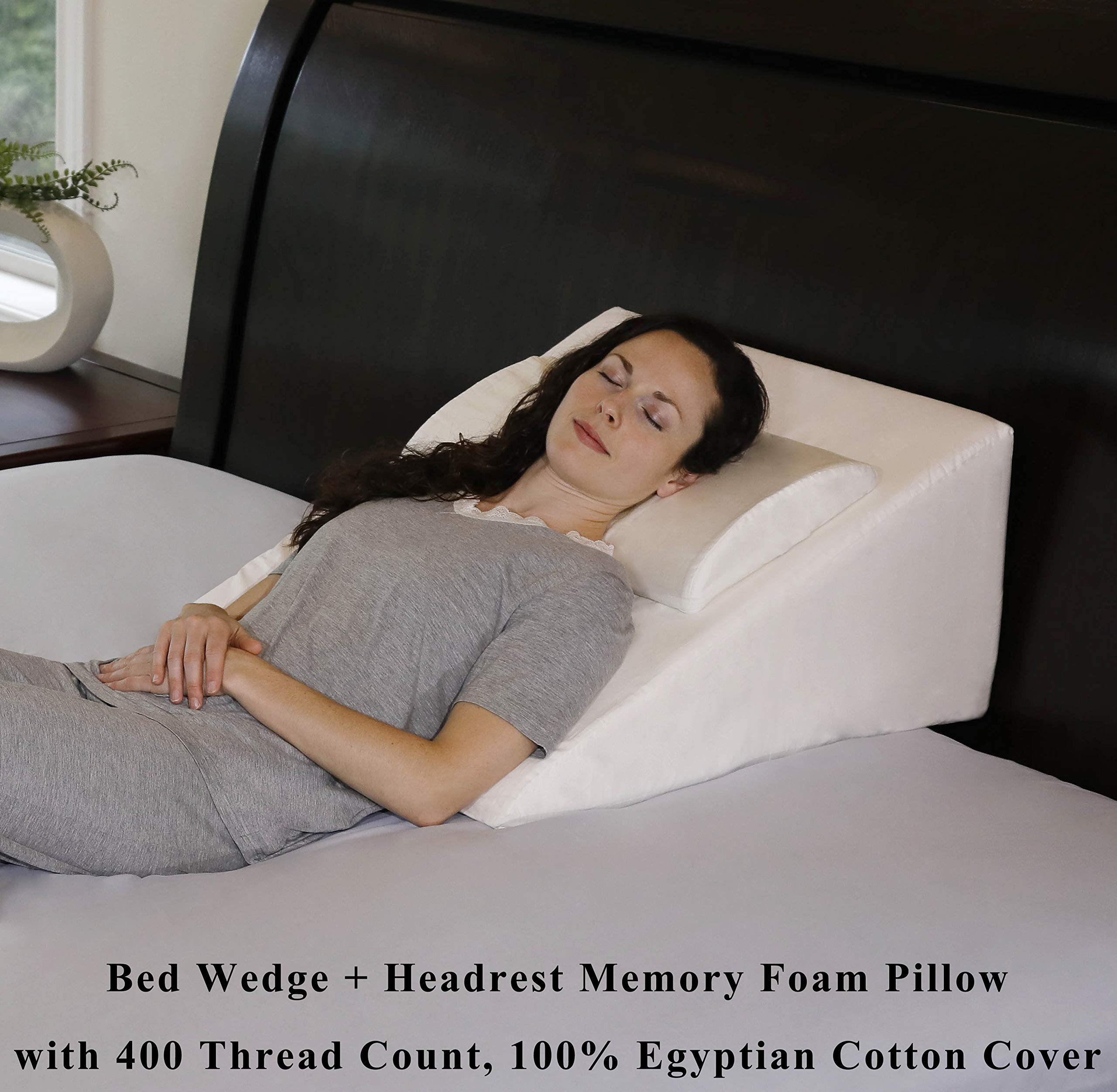 InteVision Foam Bed Wedge Pillow (25'' x 25'' x 12'') + Headrest Pillow in ONE Package - 2'' Memory Foam Top - 100% Egyptian Cotton Cover - Helps Relief from Acid Reflux, Post Surgery, Snoring by InteVision
