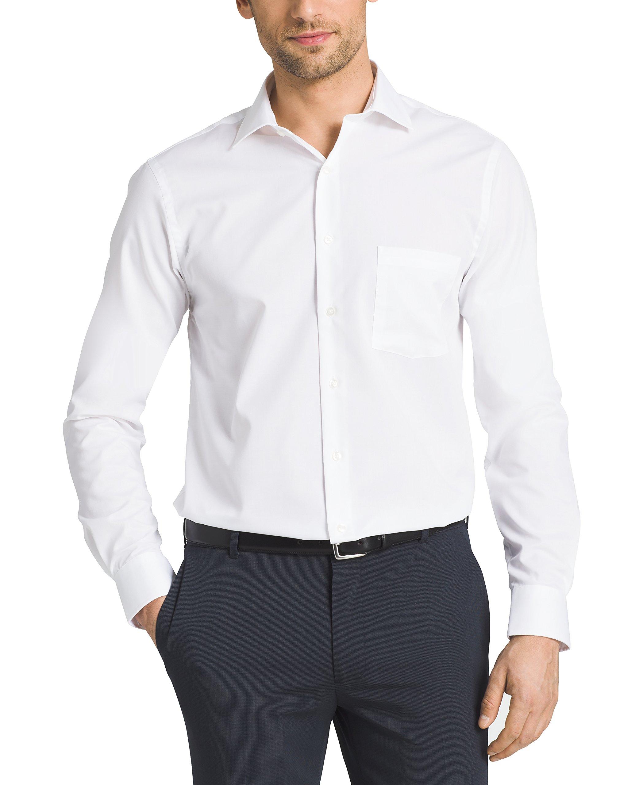 Van Heusen Men's Flex Collar Regular Fit Solid Spread Collar Dress Shirt, White, 16.5'' Neck 32''-33'' Sleeve by Van Heusen (Image #2)