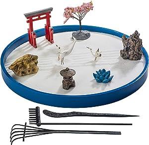 ZANTRA Japanese Zen Garden for Desk, Home and Office Decor, 10.5 Inch Wooden Sand Tray, Torii Gate, Tree, Ceramic Cranes, Lotus, Pagoda, Rakes, Info Guide – Mini Zen Garden, Stress Relief, Meditation