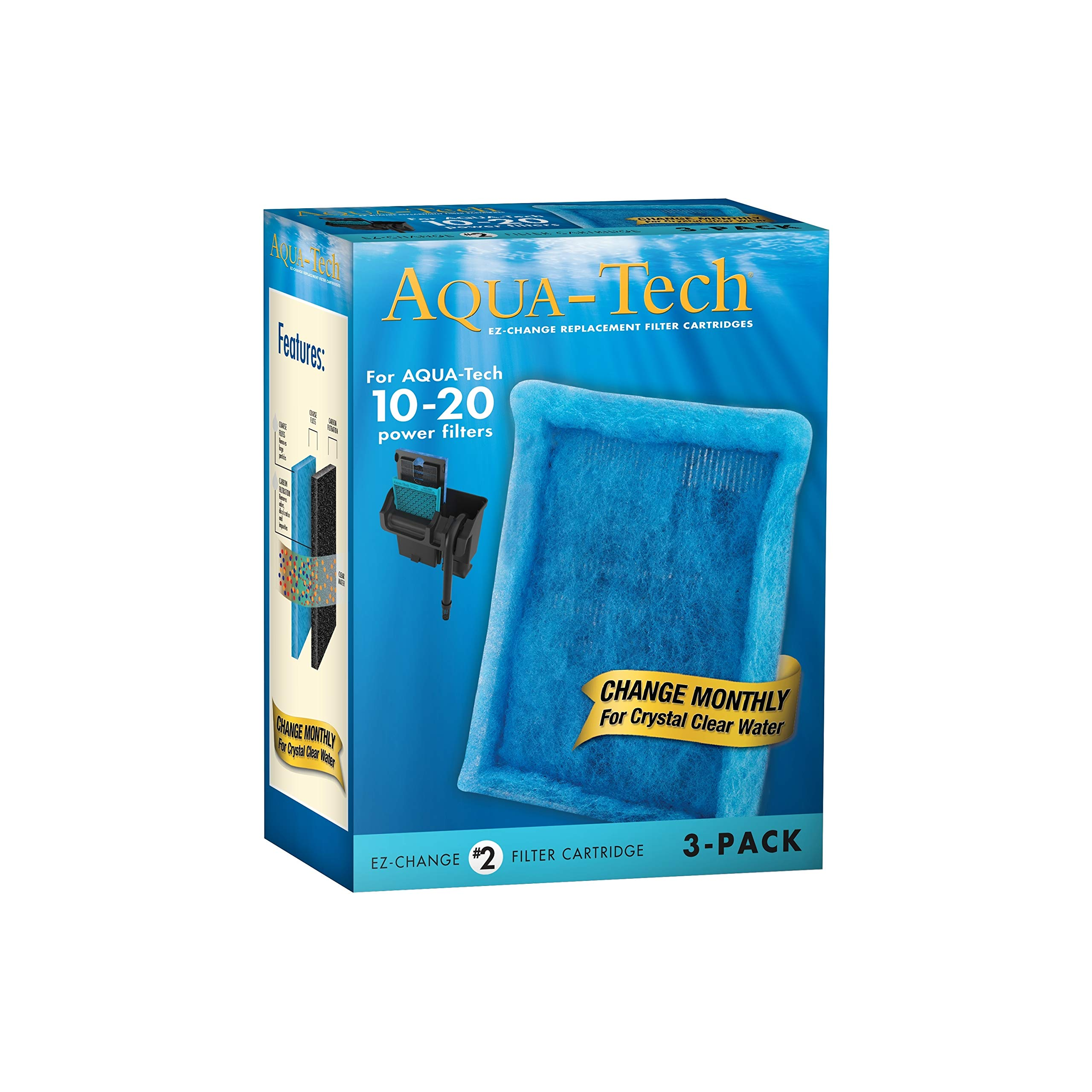 AquaTech EZ-Change 3-Pack Aquarium Filter Cartridge for 10 to 20 Power Filter