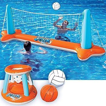 JOYIN Volleyball Net & Basketball Hoops Pool Toy for Kids