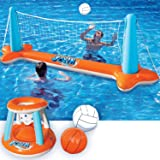 Inflatable Pool Float Set Volleyball Net & Basketball Hoops; Balls Included for Kids and Adults Swimming Game Toy…
