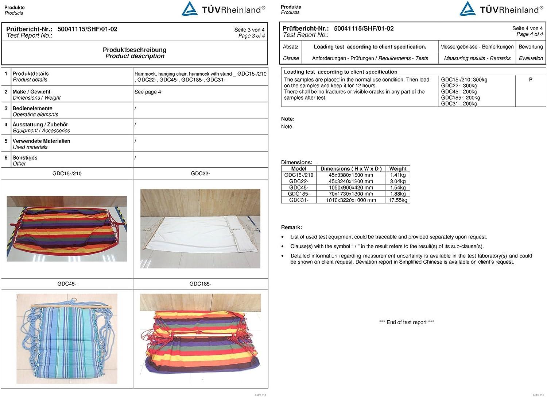 SONGMICS Amaca 210 x 150 cm Dondolo in Tessuto da Campeggio Giardino Portatile con Set di Sospesione Carico Max.300 kg GDC22P