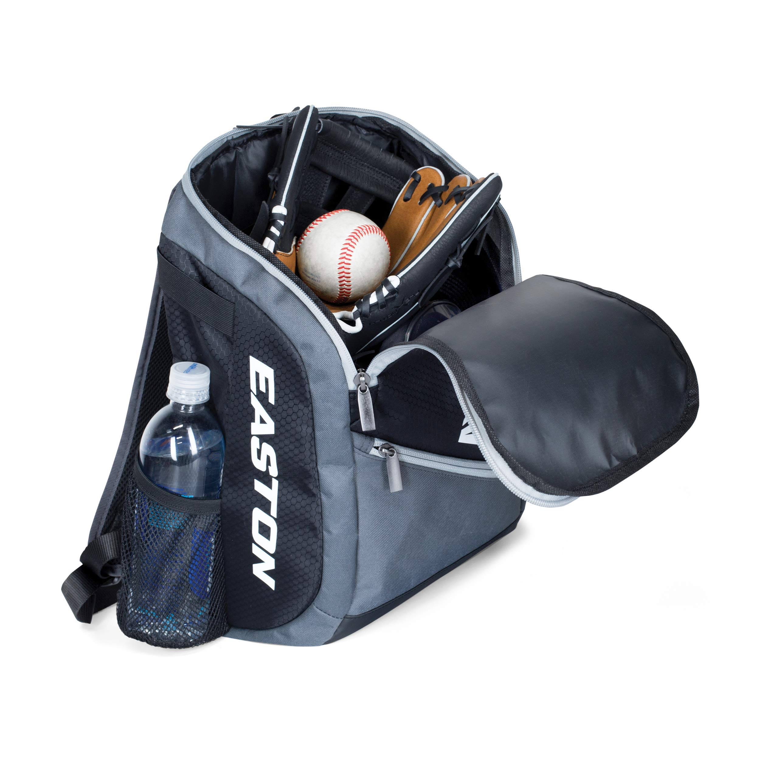 EASTON GAME READY Youth Bat & Equipment Backpack Bag | Baseball Softball | 2019 | Red White Blue | 2 Bat Pockets | Vented Main Compartment | Vented Shoe Pocket | Valuables Pocket | Fence Hook by Easton