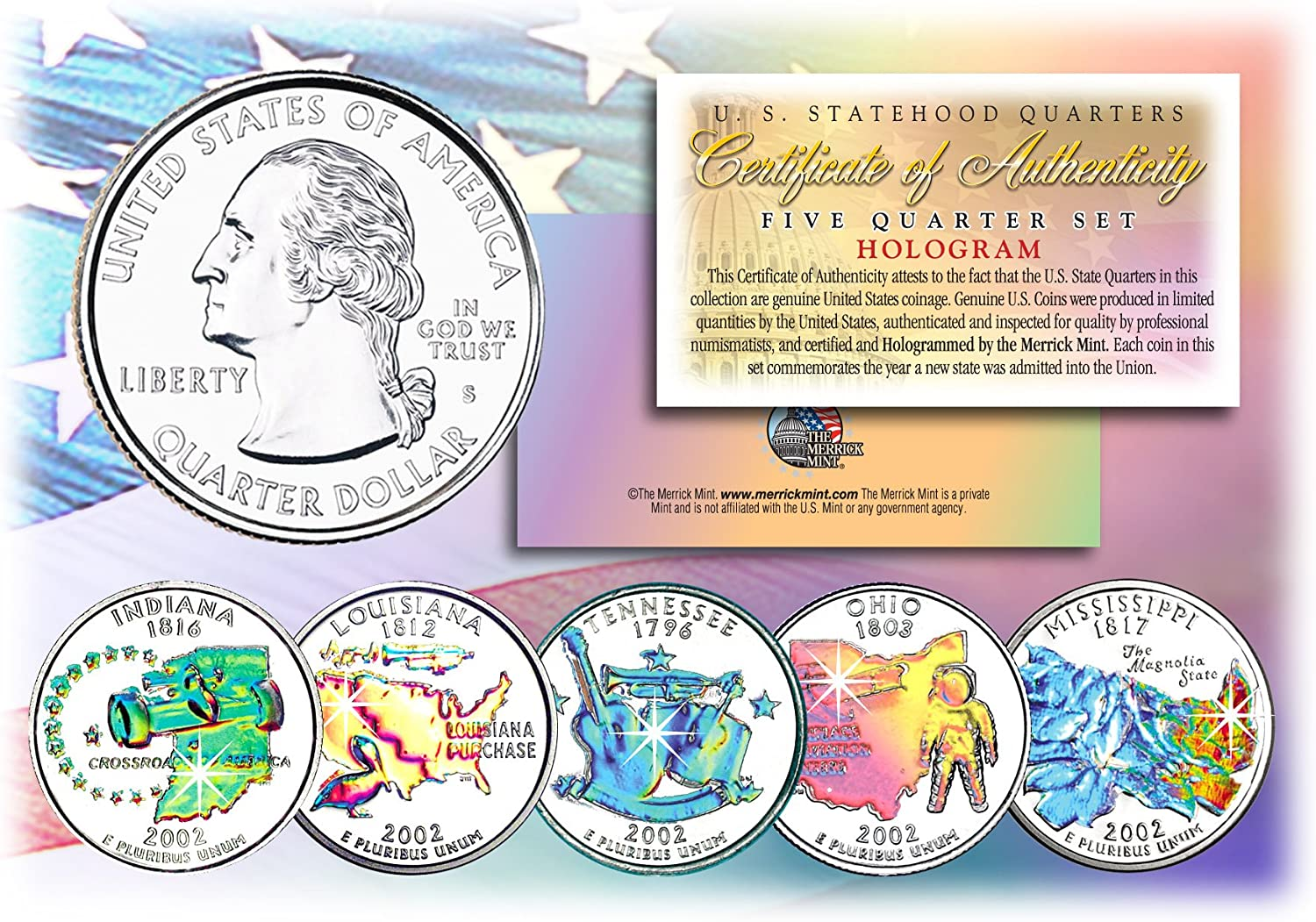 2008 U.S MINT HOLOGRAM PRESIDENTIAL $1 DOLLAR COINS w//BOX *COMPLETE SET OF 4*