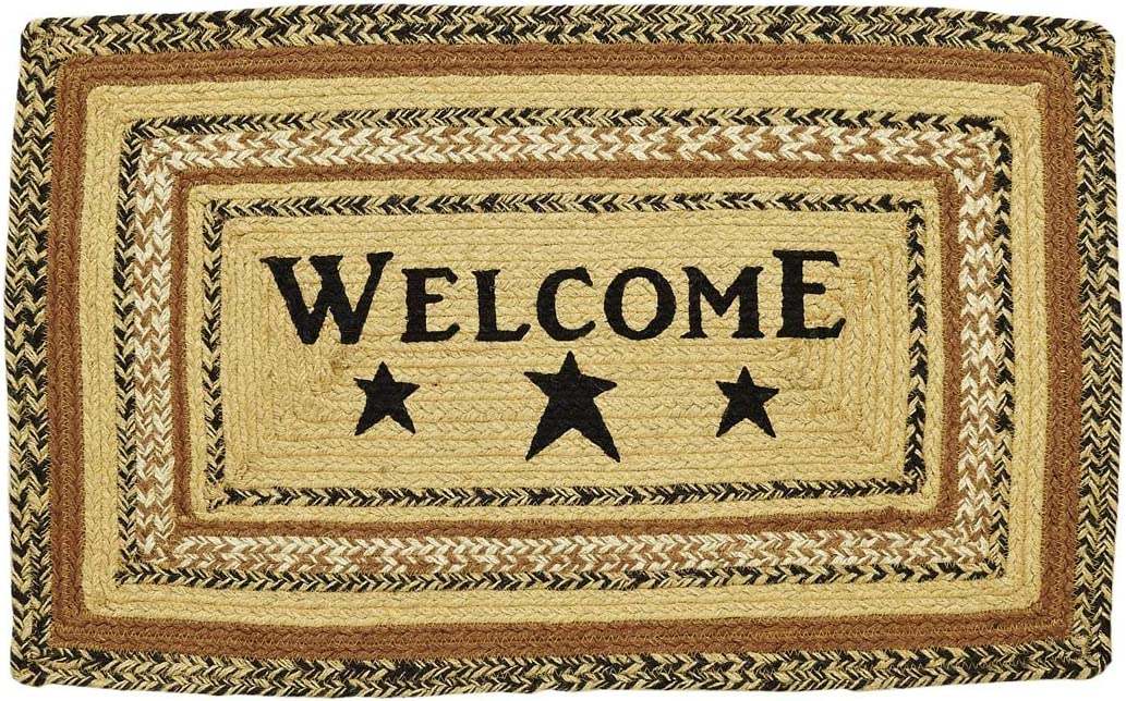 VHC Brands 10130 Primitive Flooring Prim Grove Welcome Jute Stenciled Text Rectangle Rug, 20×30