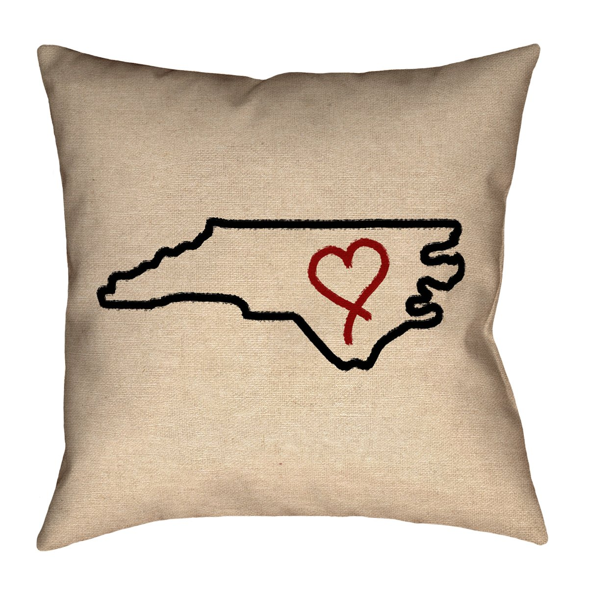 ArtVerse Katelyn Smith 26' x 26' Poly Twill Double Sided Print with Concealed Zipper & Insert North Carolina Love Pillow