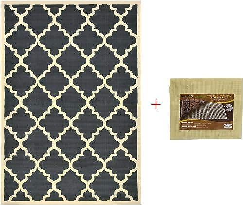 RugStylesOnline Trellis Area Rug with Pad Moroccan Design Non-Skid Rug Pad Dark Gray, 4 9 x6 10