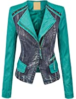 MBJ Womens Faux Leather Zip Up Moto Jacket with Hoodie