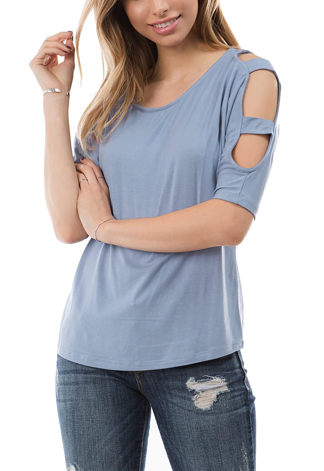 020d1afbe24 Women s relaxed fit round neck fashion top with strappy cut out detail on  the shoulders and sleeve. Available in multiple colors. Available sizes S