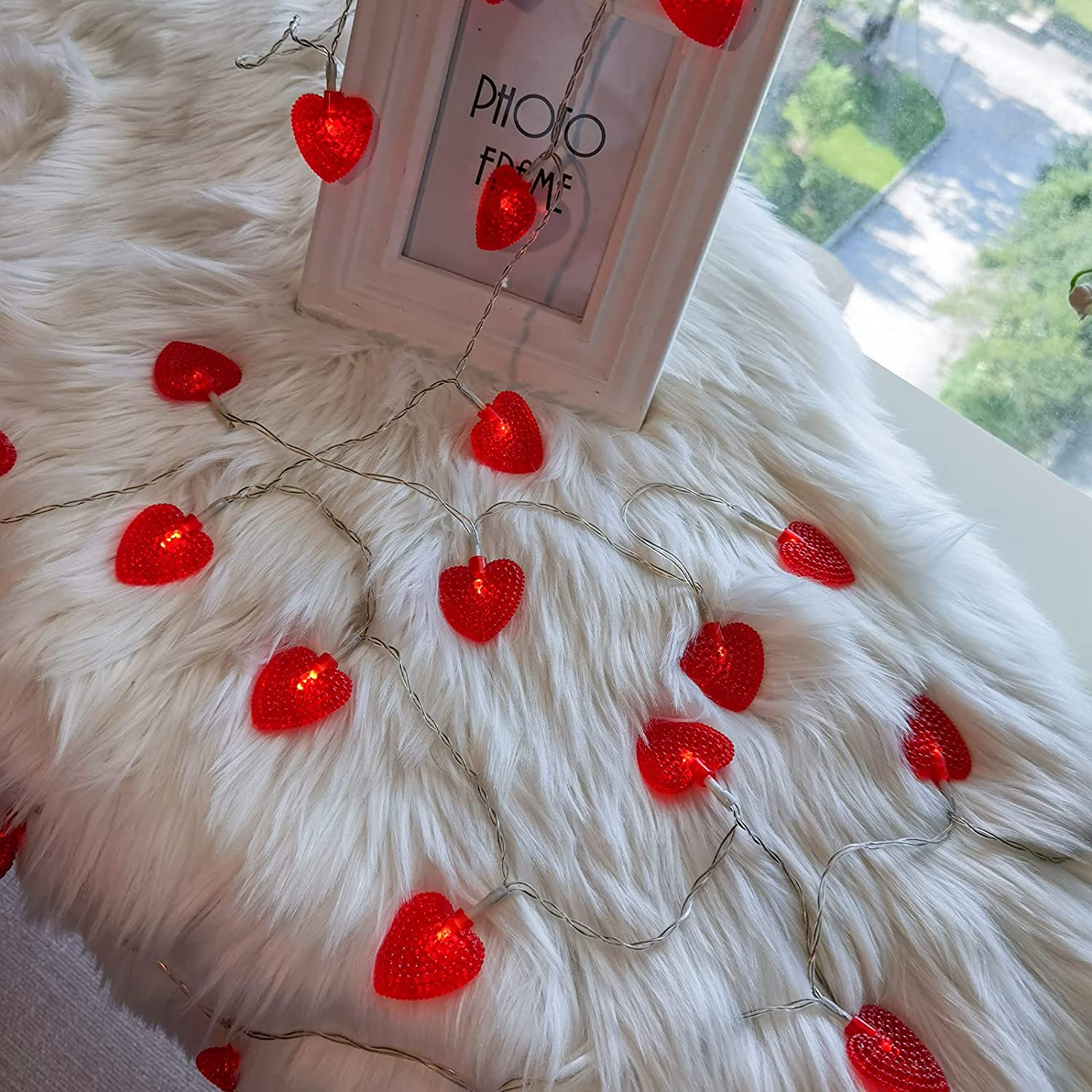 Set of 2 - EAMBRITE 10LT Red Heart String Lights Battery Operated for Bedroom Wedding Love Anniversary