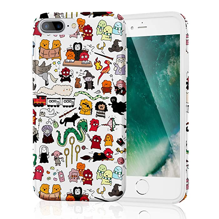 iPhone 8 Plus Case with IMD Technology [Anti-Scratch] [Anti-Slip] [Ultra-Thin] [Supports Wireless Charging] for Apple iPhone 7 Plus/iPhone 8 Plus (Kawaii Harry Potter Doodle)