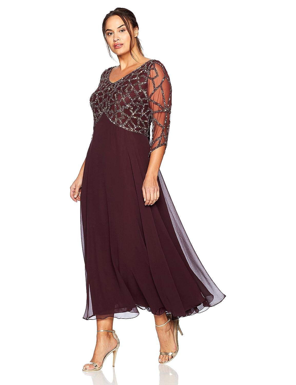 Wine Mercury J Kara Womens Plus Size 3 4 Sleeve Geo Beaded Gown Special Occasion Dress