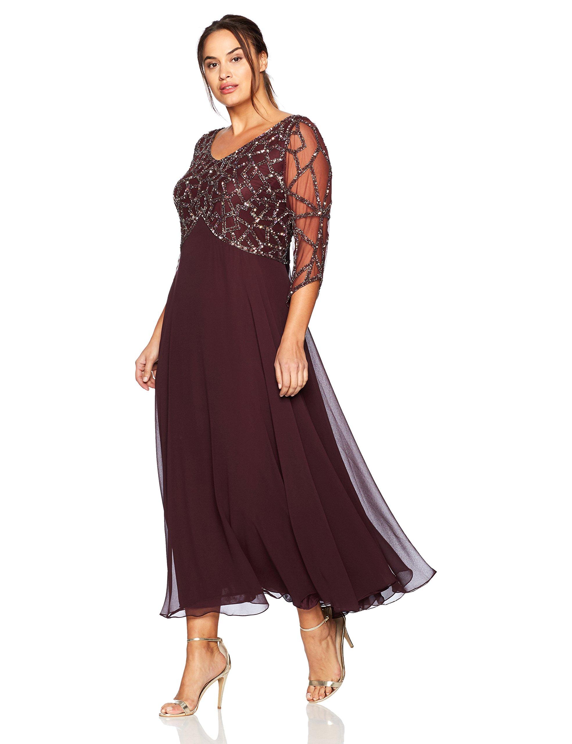 J Kara Women's Plus Size 3/4 Sleeve Geo Beaded Gown, Wine/Mercury, 14W