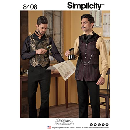 Simplicity Pattern 8408 Mens Shirt And Vest Paper White 22 X 15