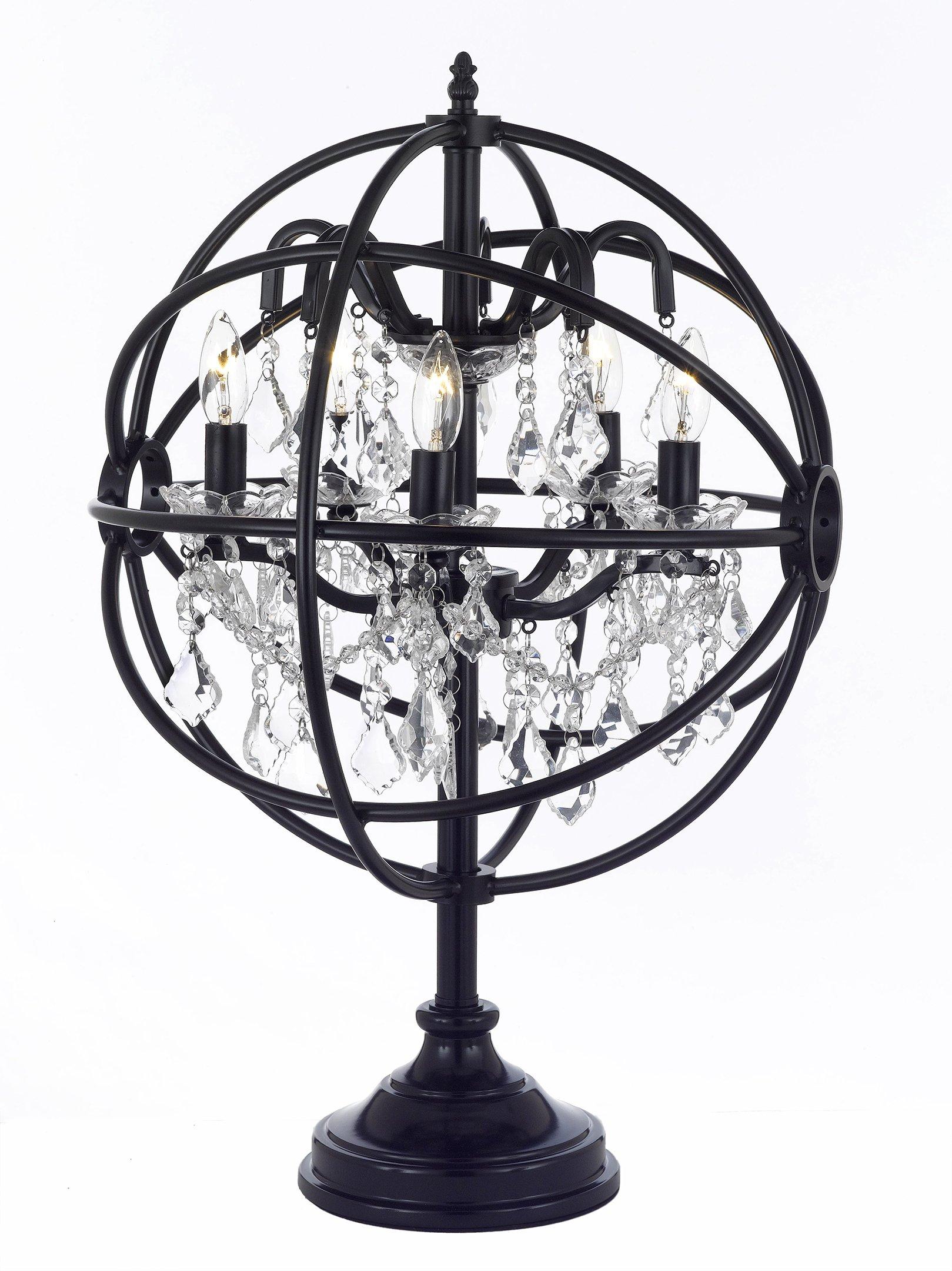 Foucault's Orb Crystal Iron 5 Light Table Lamp Modern Contemporary Lamp by Dean