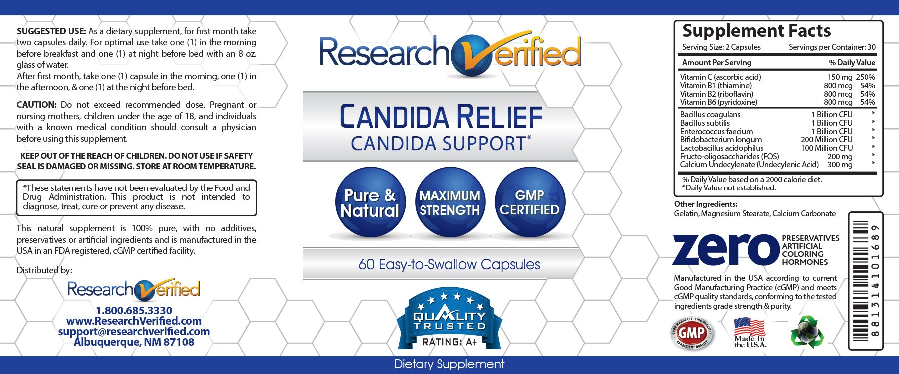 Research Verified Candida Relief - #1 Yeast Infection & Candida Supplement - 100% Natural - w/ 5 strains of probiotic healthy bacteria and Vitamin B & C - 100% Money Back - 6 Bottles (6 Months Supply) by Research Verified (Image #3)