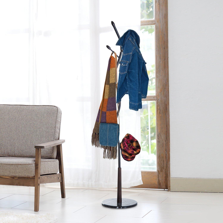 HOMCOM Garderobenst/änder Garderobe Kleiderst/änder mit 8 Haken Marmor Flur Stahl Schwarz L35 x B35 x H185cm
