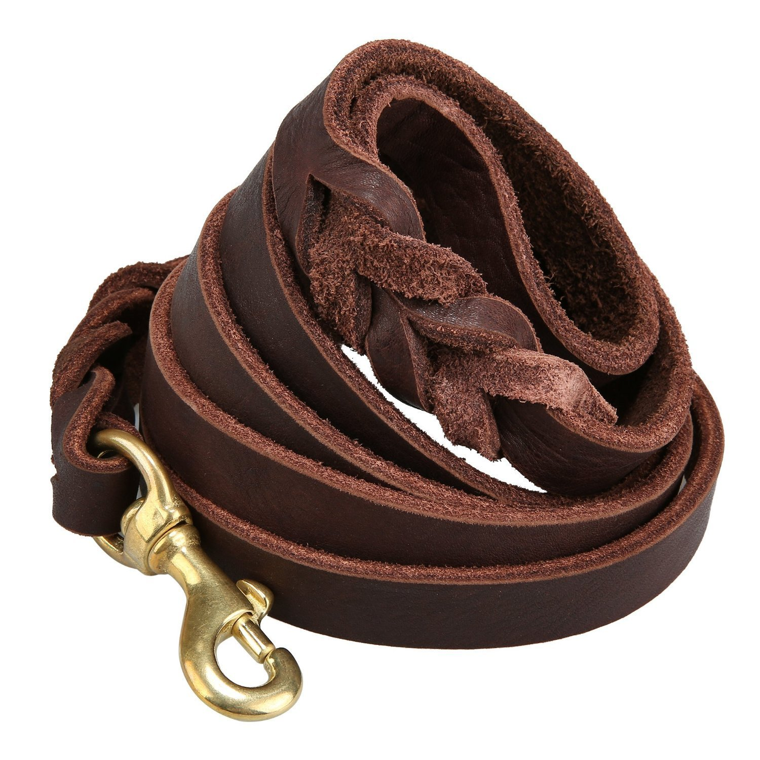 Dogs Kingdom Genuine Leather Braided Brown Dog Leash 4Ft/5Ft/7Ft/8.5Ft Best Lead For Large and Medium Dogs Training Walking Brown/Gold hook 5/7''5ft