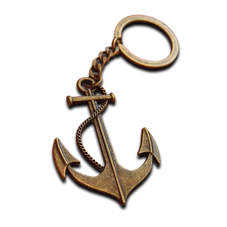 Llavero de anclaje de metal de lujo, chapado en bronce envejecido, gran tamaño, regalo para marineros marineros que trabajan en el mar