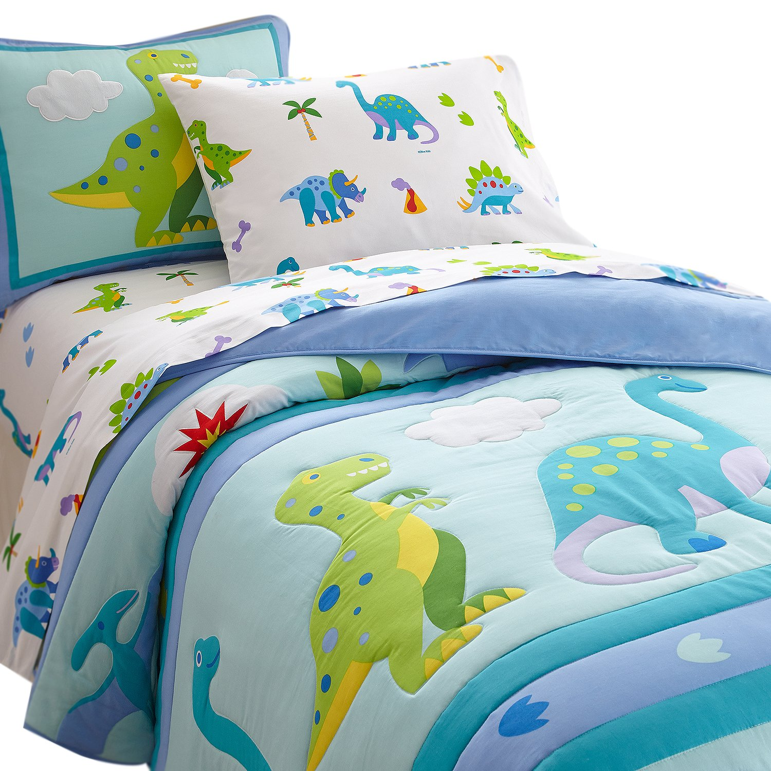 Wildkin Olive Kids Dinosaur Land forter Set Blue Twin Amazon