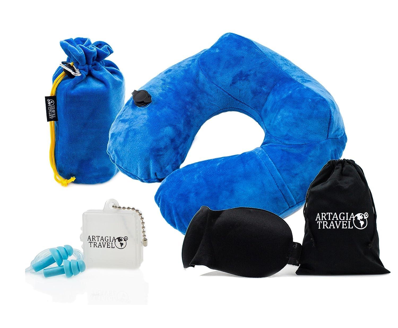 Almohada De Viaje Para Cuello De Lujo Inflable | Máscara Para Dormir Cómoda 3D | Tapones