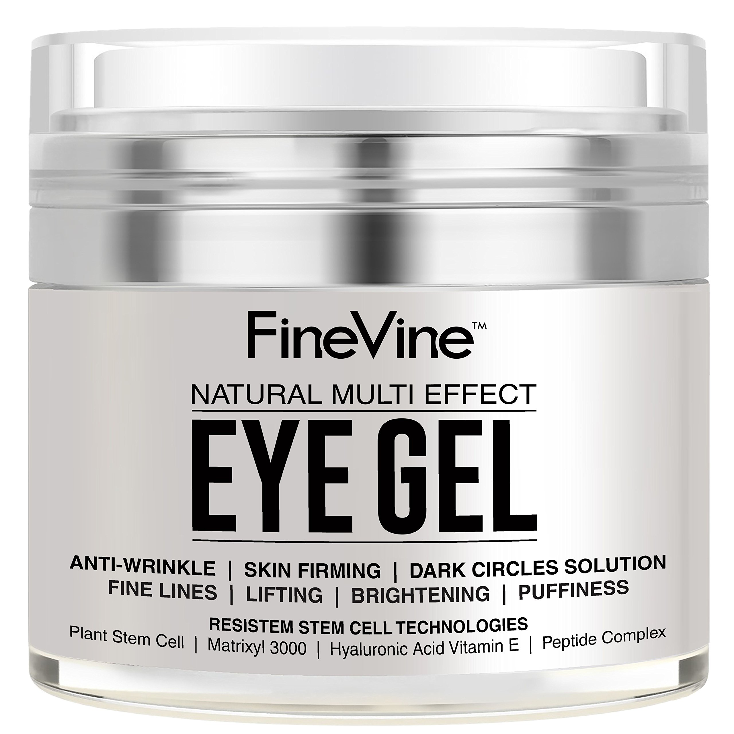 Anti Aging Eye Gel - Made in USA - for Dark Circles, Puffiness, Wrinkles, Bags, Skin Firming, Fine Lines and crows feet - The Best Natural Eye Gel for Under and Around Eyes. by FineVine
