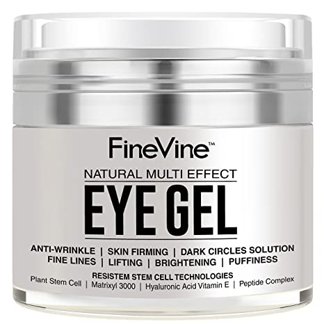 Anti Aging Eye Gel - Made in USA - for Dark Circles, Puffiness, Wrinkles, Bags, Skin Firming, Fine Lines and crows feet - The Best Natural Eye Gel for ...
