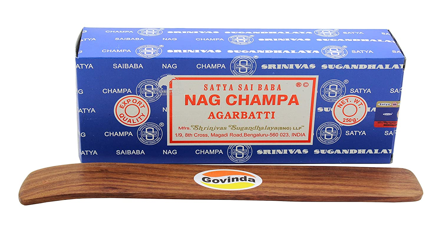 Govinda Satya Bangalore (BNG) Nag Champa Argarbatti 250 Grams with Incense Holder 輸入品
