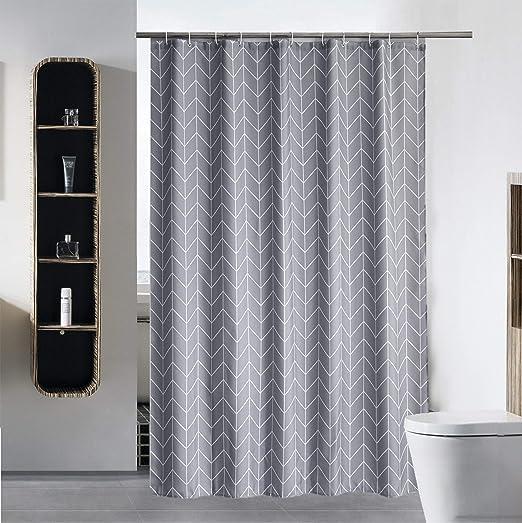 "72x72/"" Anchor Stripe Pattern Waterproof Fabric Shower Curtain Set Bathroom Hooks"