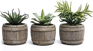 MyGift Assorted Mini Artificial Succulents Plants in Rustic Wood Barrel Design Pots, Set of 3, Brown
