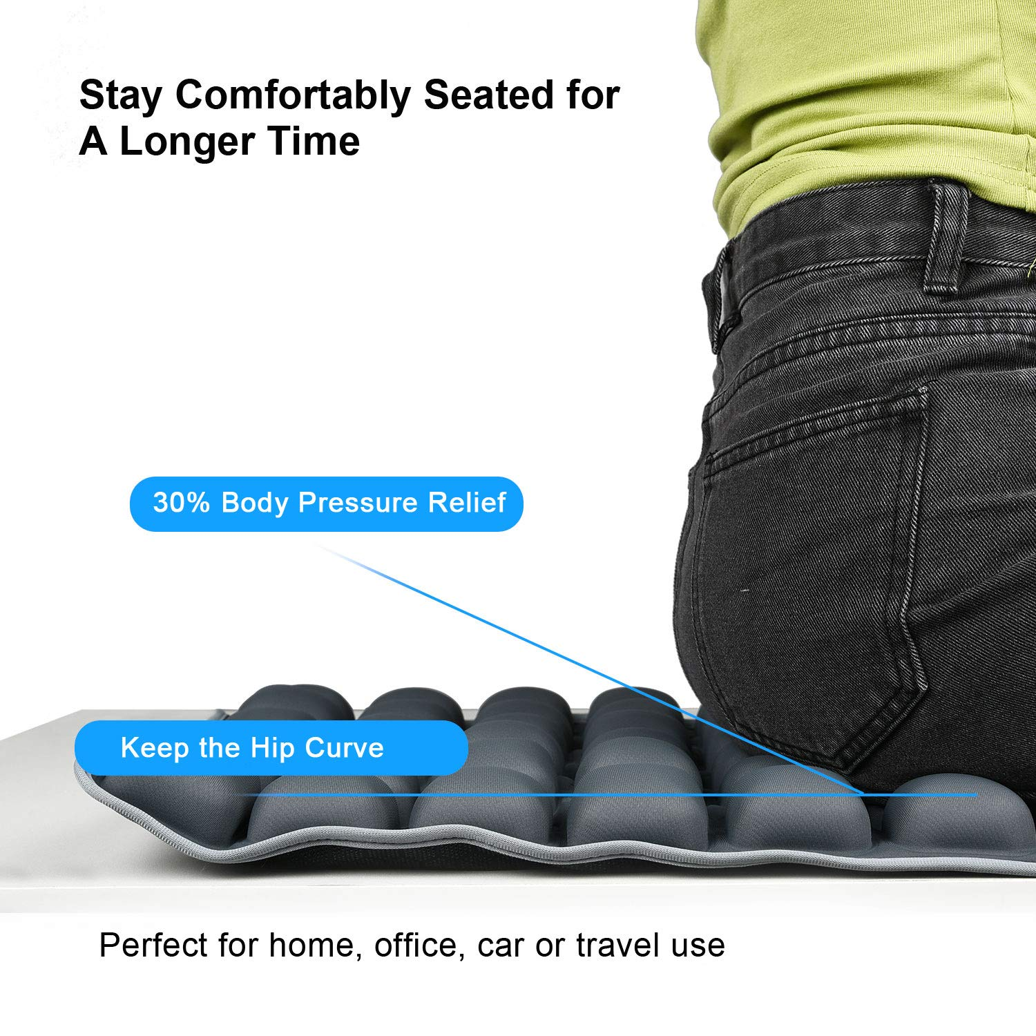 HOMMIESAFE Water Seat Cushion Air Inflatable Chair Pad for Wheelchair Cars Pressure Relief Pillow Dark Blue Office Chair Cool Non-Slip Hip Protector Home Living Adjustable Volume /& Softness