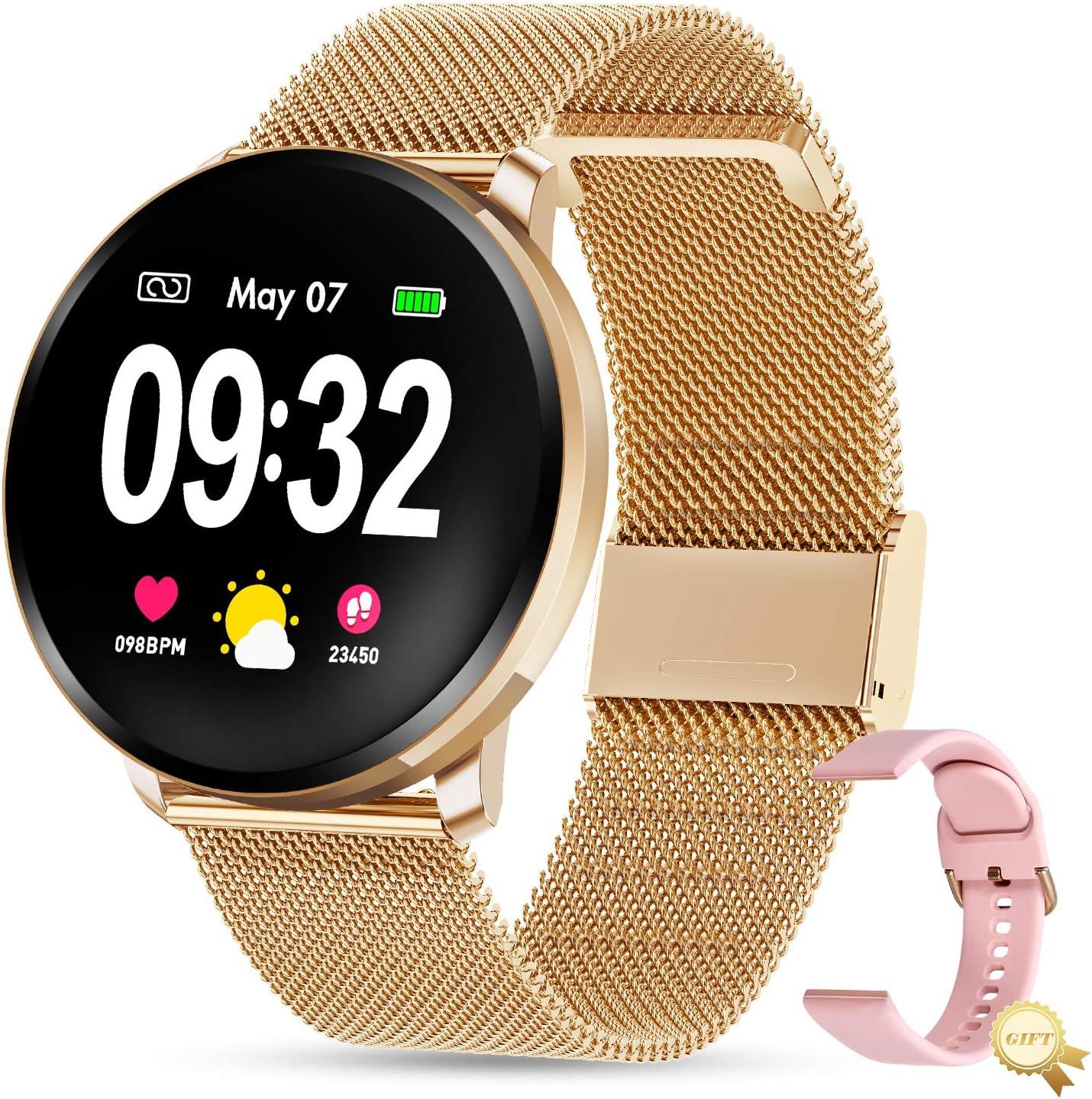 GOKOO Reloj Inteligente Mujer Smartwatch Bluetooth Rastreador de Fitness Pulsómetros Monitor de Sueño IP67 Impermeable Reloj Deportivo Compatible con Android iOS
