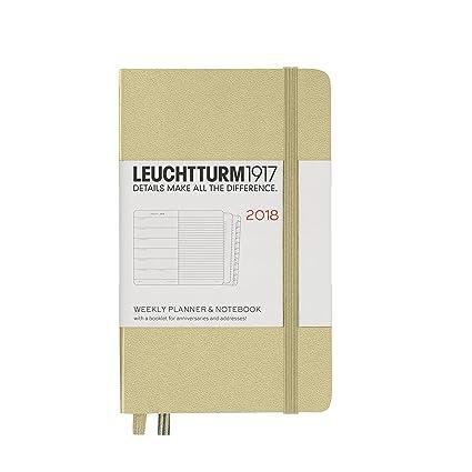 LEUCHTTURM1917 355199 Weekly Planner & Notebook Pocket (A6) 2018, Sand, English