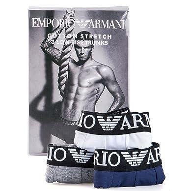 Emporio Armani Boxer Ajustado - Pack de 3 Calzoncillos Para Hombre, Talla XL, Grey-White-Navy: Amazon.es: Ropa y accesorios