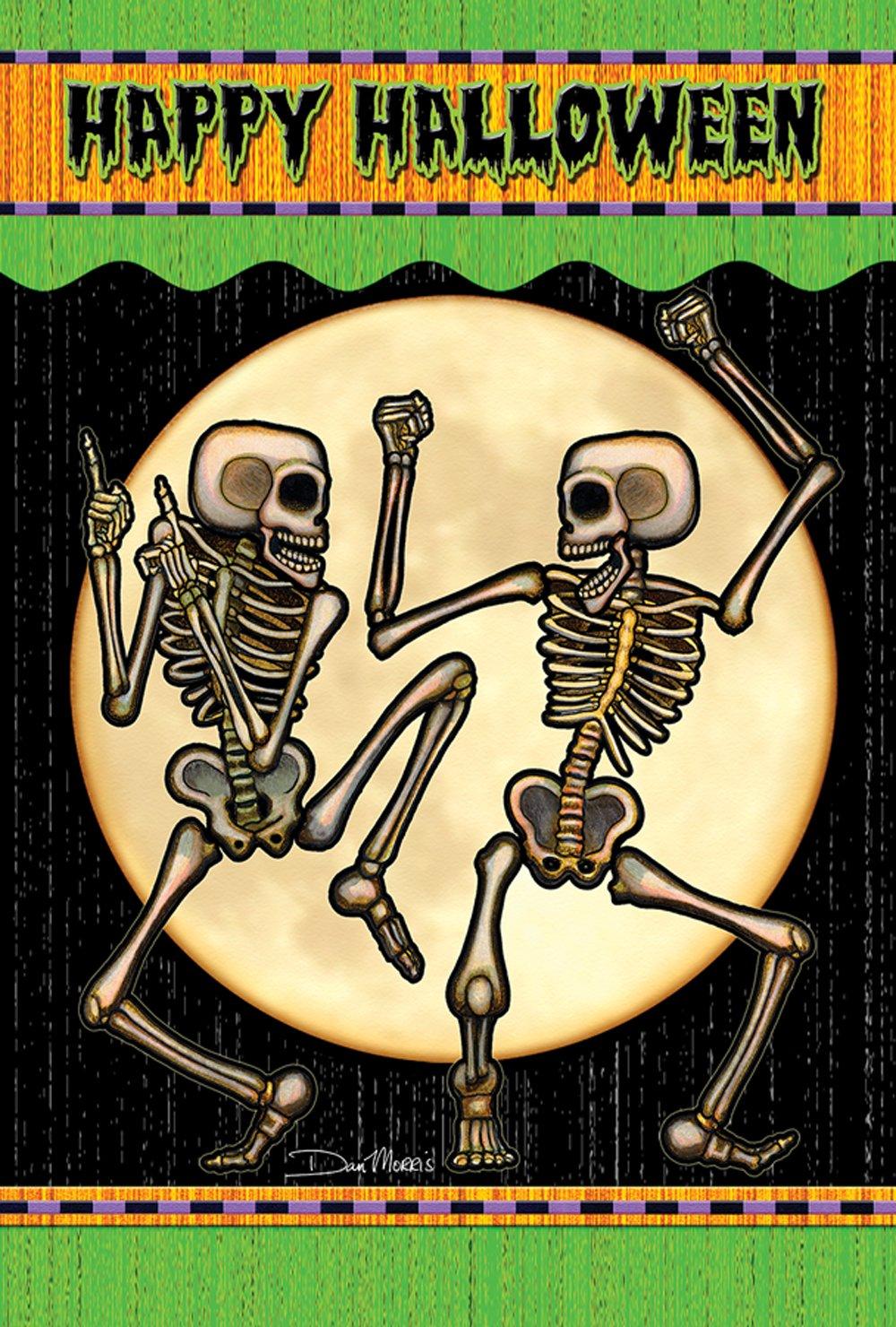 Toland Home Garden Dancing Skeletons 12.5 x 18 Inch Decorative Happy Halloween Garden Flag